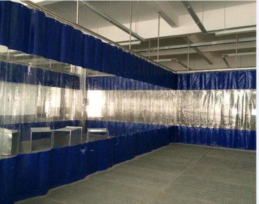 Штора ПВХ синяя с прозрачным окном